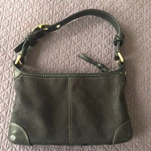 Coach bag Black with leather trim and gold hdwe